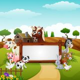 Farm animals with a blank sign wood tied. Illustration of Farm animals with a blank wood tied Royalty Free Stock Photo