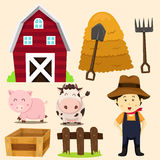 Illustration of farm animals and related items Stock Photos