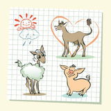 Illustration of  farm animals set. Outlined cute cartoon farm animals. Vector illustration Stock Image