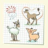 Illustration of  farm animals set Stock Image