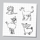 Illustration of  farm animals set. Outlined cute cartoon farm animals. Vector illustration Stock Images