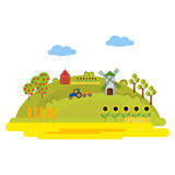 Illustration with farm buildings and a tractor on a green hill. Fields of wheat, sunflowers. Windmill and barn. Summer. Sunny day. Vector, illustration in flat Royalty Free Stock Photos