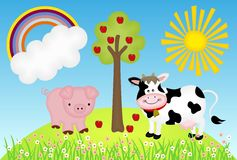 Illustration farm with cow and pig Royalty Free Stock Image