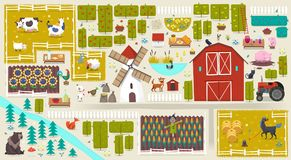 Poster with farm elements. Illustration with farm elements and different kinds of food and animals from farm Royalty Free Stock Photo