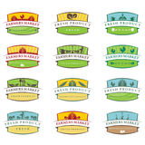 Illustration farm labels.Vector Stock Photo