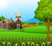 Farm landscape with shed and brown windmill on daylight. Illustration of farm landscape with shed and brown windmill on daylight vector illustration
