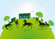 Illustration of farm and paddock Royalty Free Stock Photography