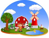 Farm scenes with many animals and farmers Royalty Free Stock Photo
