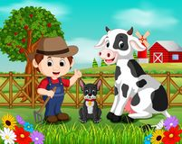 Farm scenes with many animals and farmers Stock Images
