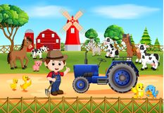 Farm scenes with many animals and farmers. Illustration of Farm scenes with many animals and farmers Stock Photography