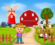 Farm scenes with many animals and farmers Royalty Free Stock Image