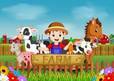 Farm scenes with many animals and farmers Royalty Free Stock Photography