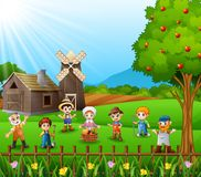 The farmers gathered together and talking about the farm. Illustration of The farmers gathered together and talking about the farm Royalty Free Stock Photo