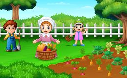 Farmers are harvesting the results of their plantations royalty free illustration