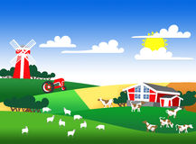 Illustration of a farmland Stock Photo