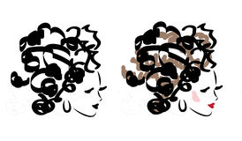 Illustration of fashion faces Stock Images