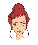 Illustration fashion girl. Portrait girl with make up Stock Photography
