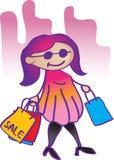 Illustration fashion girl shopping Royalty Free Stock Photo
