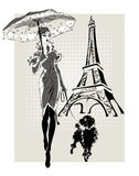 Illustration Fashion woman near Eiffel Tower with little dog Royalty Free Stock Images