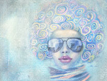 Illustration of fashion woman in sunglasses with speech bubble. Stock Images