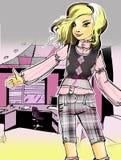 Illustration of fashionable girl stock image