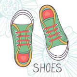 An illustration of fashionable girl trainers Stock Images