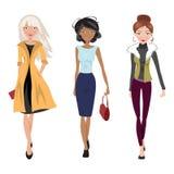 Illustration fashionable girls Royalty Free Stock Photo