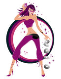 Illustration of a fashionable dancing girl Stock Image
