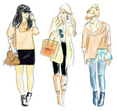 Illustration of fashionable women. Fashion design for woman Stock Image