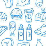 Illustration of fast food various doodles. Collection Stock Image