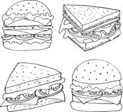 Illustration of fastfood in cartoon style. Burgers and sandwiches vector illustration for menu design vector illustration