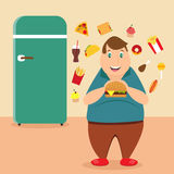 Illustration of the fat man eating unhealthy products. Near the fridge Stock Illustration