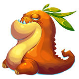 Illustration: The Fat Mud Monster of Fantastic Forest  on White Background. Stock Image
