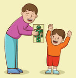 Illustration of a father giving a present to his son Stock Photos