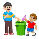Father and his son collecting Rubbish plastic bottle. Illustration of Father and his son collecting Rubbish plastic bottle royalty free illustration