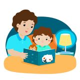 A  illustration of a father reading a bedtime story to his. Son Royalty Free Stock Photo