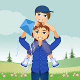 Father and son with kite. Illustration of father and son with kite Stock Images