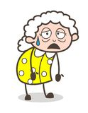 Illustration fatiguée de vieille Madame Face Expression Vector de bande dessinée Image stock