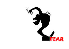 Illustration of fear. With a black silhouette of a monster Stock Image