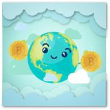 An illustration featuring an assortment of cartoonish Earth character smiling and holding golden bitcoin. Money world set global vector earth and clouds royalty free illustration