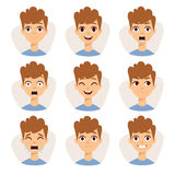 Illustration featuring boy kids showing different facial expressions emotions cartoon vector. Royalty Free Stock Images