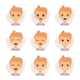 Illustration featuring boy kids showing different facial expressions emotions cartoon vector. Royalty Free Stock Photography