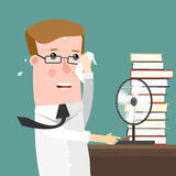 Illustration Featuring a businessman Sweating Profusely in His Office. Illustration Featuring a Man Sweating Profusely in His Office Royalty Free Stock Images