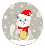 Illustration featuring a cartoon cat in a red Santa hat and scarf with Christmas ball on background of snowflakes. stock illustration