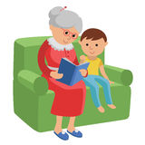Illustration featuring an elderly woman reading a book for grandson. Vector illustration in flat style of elderly woman sitting in a chair at home reading a Royalty Free Stock Photography