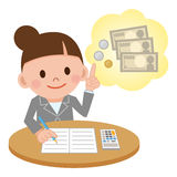 Illustration Featuring a Female Accountant Computing Stock Image