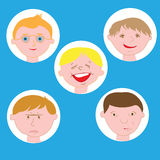 Illustration Featuring Kids Showing Different Facial Expressions. Emotional children's faces Stock Photography