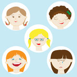 Illustration Featuring Kids Showing Different Facial Expressions. Girl's face with the expression of emotions Stock Image