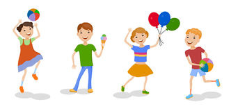 Illustration featuring playing kids Royalty Free Stock Image