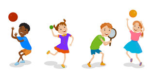 Illustration featuring playing kids Stock Photography